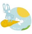 sky surfing easter bunny vector image