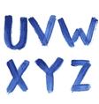 Handwritten blue watercolor alphabet vector image vector image