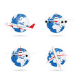 airplane with globe set vector image