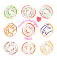 donut line drawing set isolated on white vector image