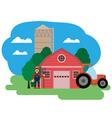 farm Farmer and tractor vector image