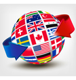Flags of the world on a globe with an arrow vector image