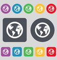 Globe icon sign A set of 12 colored buttons Flat vector image