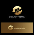 round sphere arrow business finance gold logo vector image