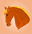The head of a red horse stallion drawing il vector image