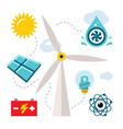 set - types of power generation flat style vector image