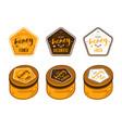 set of pentagonal templates labels for honey vector image