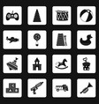 different kids toys icons set squares vector image