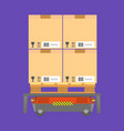 cardboard boxes loaded on special cart for vector image
