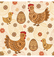 Seamless pattern with folk chicks and eggs vector image