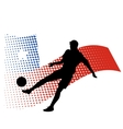 chile soccer player against national flag vector image vector image