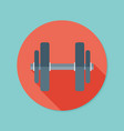 dumbbell flat icon with long shadow eps10 vector image