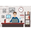 Man With Laptop In Modern Room vector image
