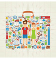 Suitcase Shaped Travel Background vector image vector image