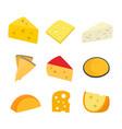 cheese set flat cartoon character vector image