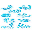 decorative blue sea waves and surf icons with vector image