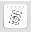 Doodle passport icon vector image