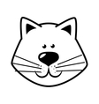 hand drawing face cat happy vector image