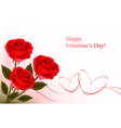 red roses and gift gold hearts vector image