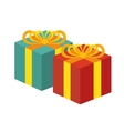 two gift boxes red and green white background vector image