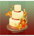 Wedding cake with red iris flower design vector image