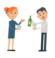 Boy and Girl with Glass Wine and Bottle Isolated vector image