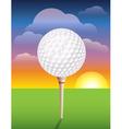 Teed Golf Ball at Sunrise vector image