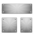 three shiny metal plates of different size with vector image vector image