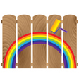 fence boards painted in rainbow vector image vector image