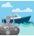 Octopus in the sea waiting for a boat vector image