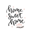 Home sweet home hand drawn lettering card vector image