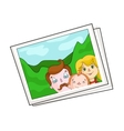 Family photo portrait icon in cartoon style vector image