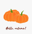 hello autumn hand drawn logo with lettering vector image