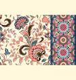 seamless floral patterns set vintage flowers vector image