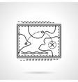 Tourist route flat line design icon vector image