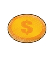 drawing coin dollar money currency icon vector image
