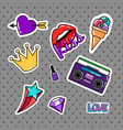 retro style stickers set vector image