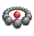 One red sphere is surrounded black vector image vector image