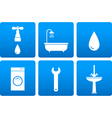 Bath objects on blue background vector image