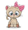 cute cartoon kitten girl vector image