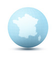 silhouette of france on blue sphere vector image
