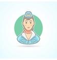 Stewardess air hostess flight attendant icon vector image