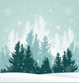 Winter snowy landscape with fir tree vector image