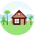 set icon - blockhouse river different trees vector image vector image