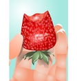 hand with a strawberry vector image vector image