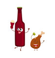 funny beer bottle and fried chicken leg characters vector image
