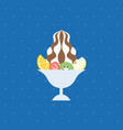 ice dessert and tropical fruit vector image