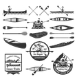 Rafting Canoeing And Kayak Elements Set vector image