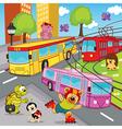 animals trolleybus tram bus vector image