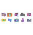 camera icon set cartoon style vector image